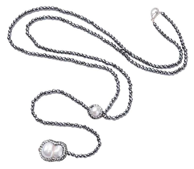 Zoetwaterparel - en edelstenen ketting Hematite Pearl Peanut