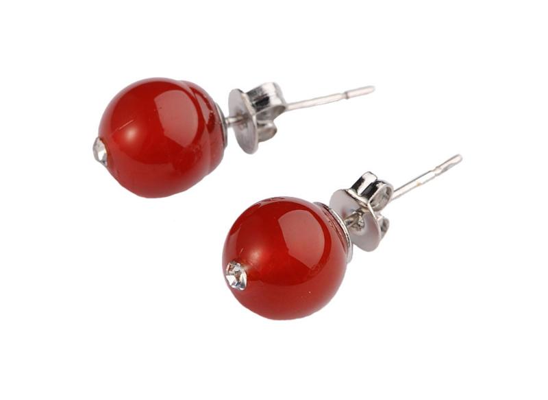 Edelstenen oorbellen Bling Red Agate