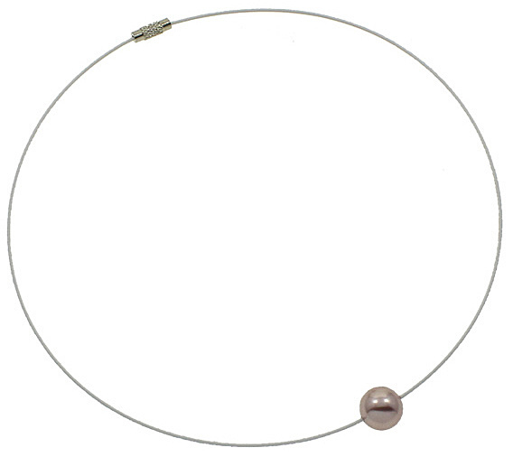 Mother of pearl parel ketting Wire Shiny Ball Pink