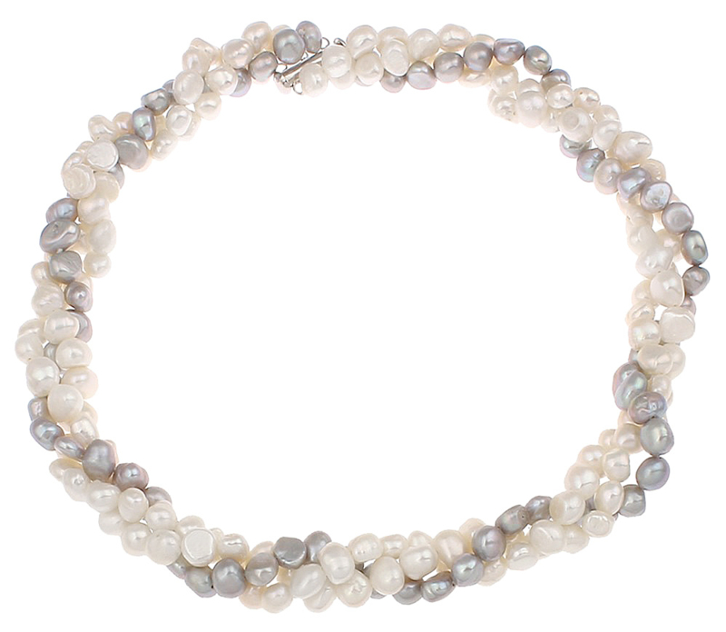 Zoetwater parelketting Three Double Pearl White Grey