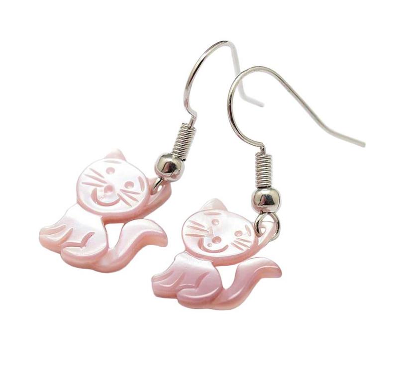 Parelmoeren oorbellen Pink Shell Cat