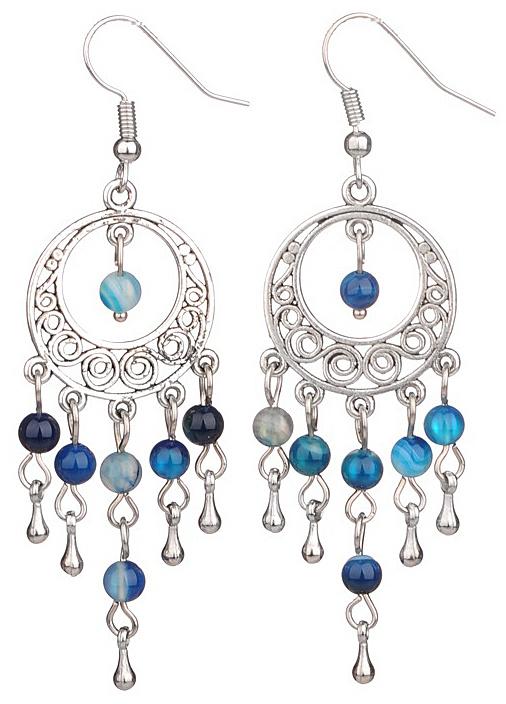 Edelstenen oorbellen Oriental Blue Agate