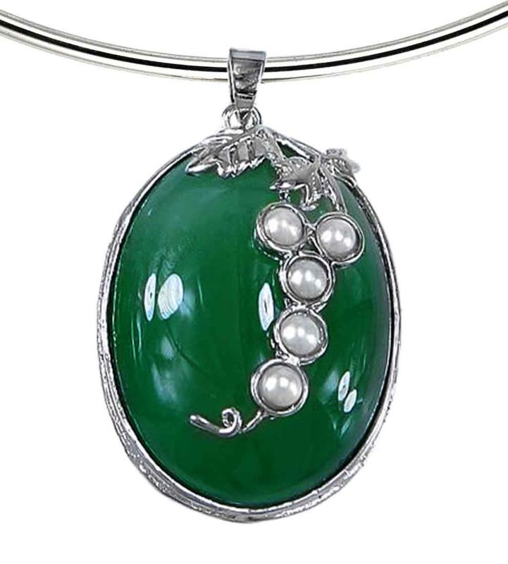 Zoetwater parelketting met edelsteen Green Agate Pearl Grape