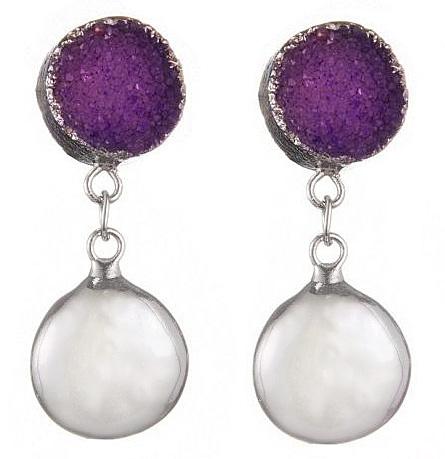 Zoetwater parel oorbellen met edelstenen Purple Druzy Coin Pearl