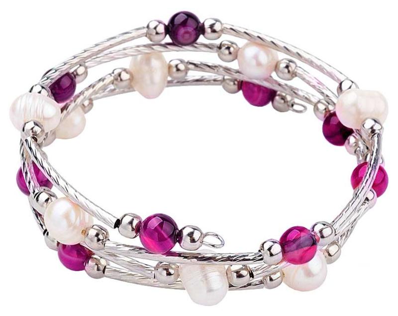 Zoetwater parel wikkelarmband met edelstenen Wrap Pearl Pink Striped Agate