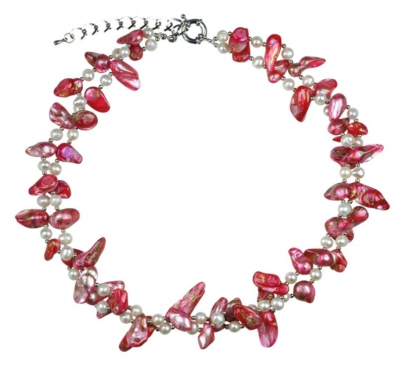 Zoetwater parelketting Turtle pink