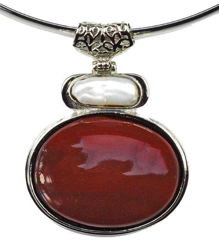 Zoetwater parelketting met edelsteen Biwa Red Agate
