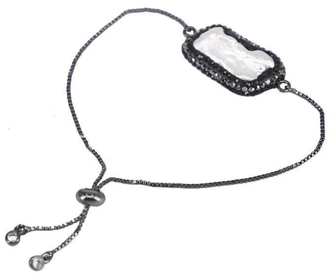 Zoetwater parel armband Black Bright Biwa Pearl