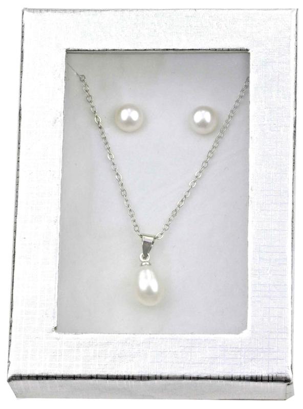 Cadeau set zoetwater parel ketting en oorbellen Single Pearl W