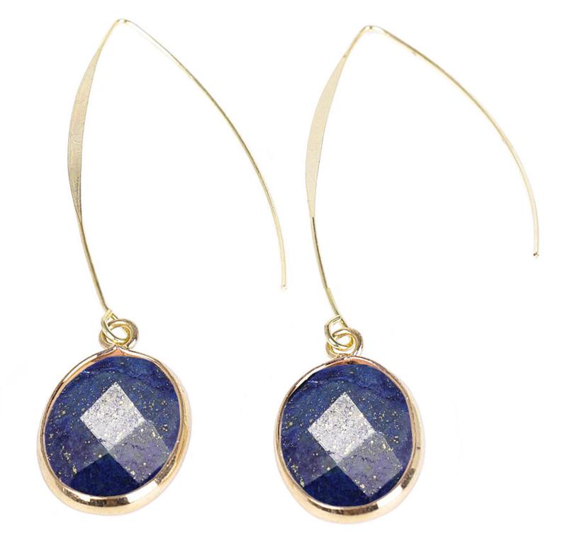 Edelstenen oorbellen Long Lapis Lazuli Gold