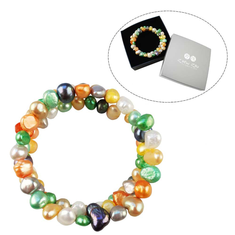 Cadeau set zoetwater parel wikkelarmband Zen Color Two