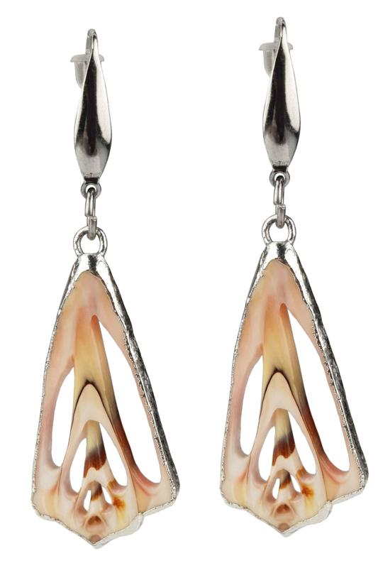 Schelpen oorbellen Lahuanus Shell Silver