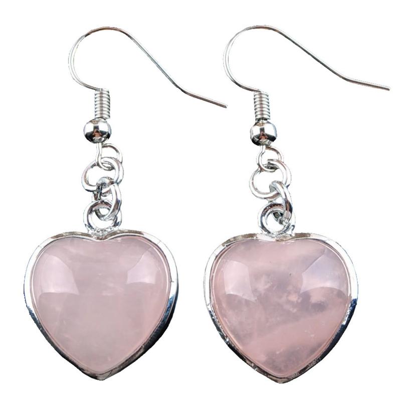 Edelstenen oorbellen Rose Quartz Silver Heart