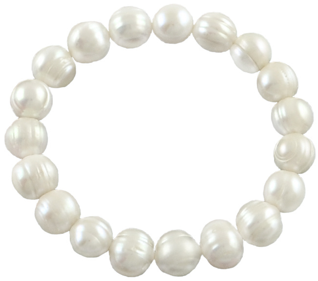 Zoetwater parel armband Big Pearl White Two