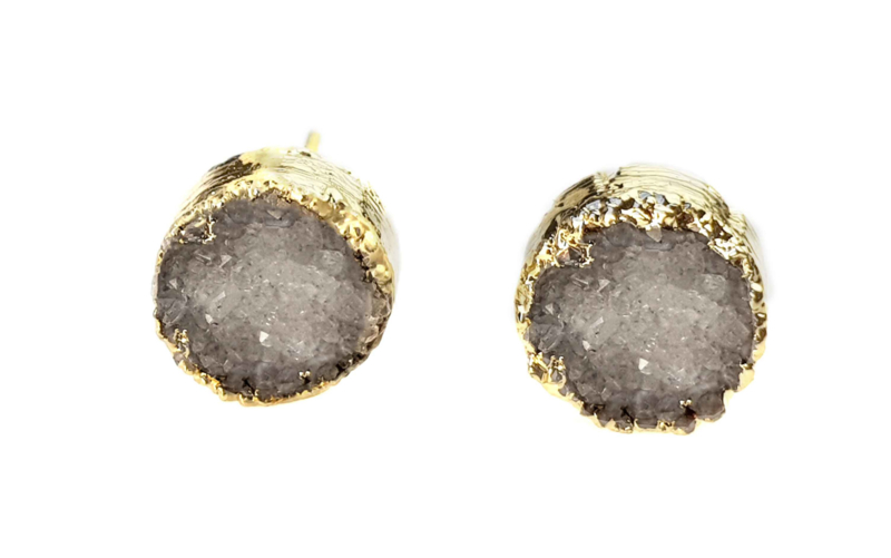 Edelstenen oorbellen Druzy Gold Grey