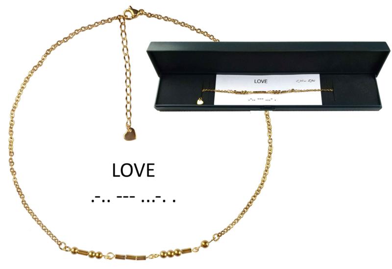 Cadeau set edelstenen ketting Morse Code Love Gold Hematite