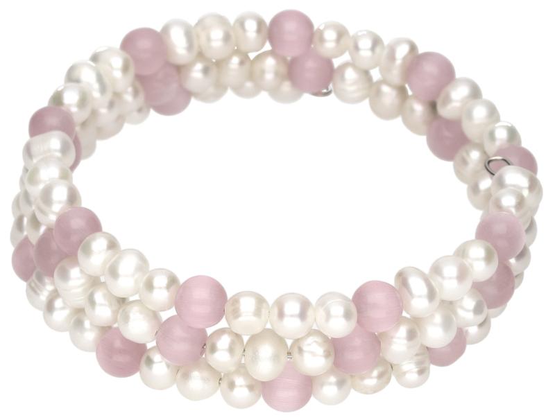 Zoetwater parel armband met edelsteen Pearl Pink Cat's Eye