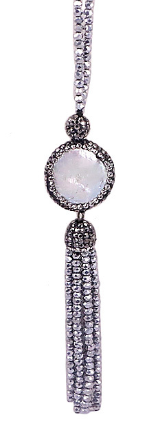 Zoetwater parelketting Bright Coin Pearl Silver