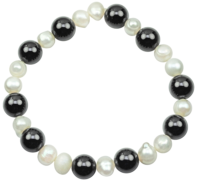 Zoetwater parel en edelstenen armband Pearl Black Agate