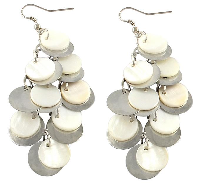 Parelmoeren oorbellen White Shell Circles