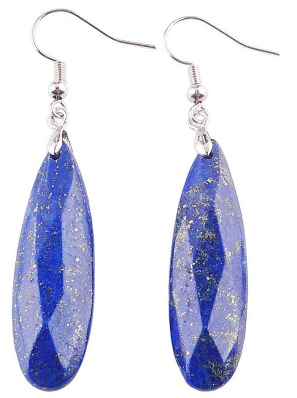 Edelstenen oorbellen Big Long Drop Lapis Lazuli