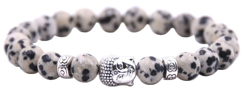 Edelstenen armband Buddha Dalmatian