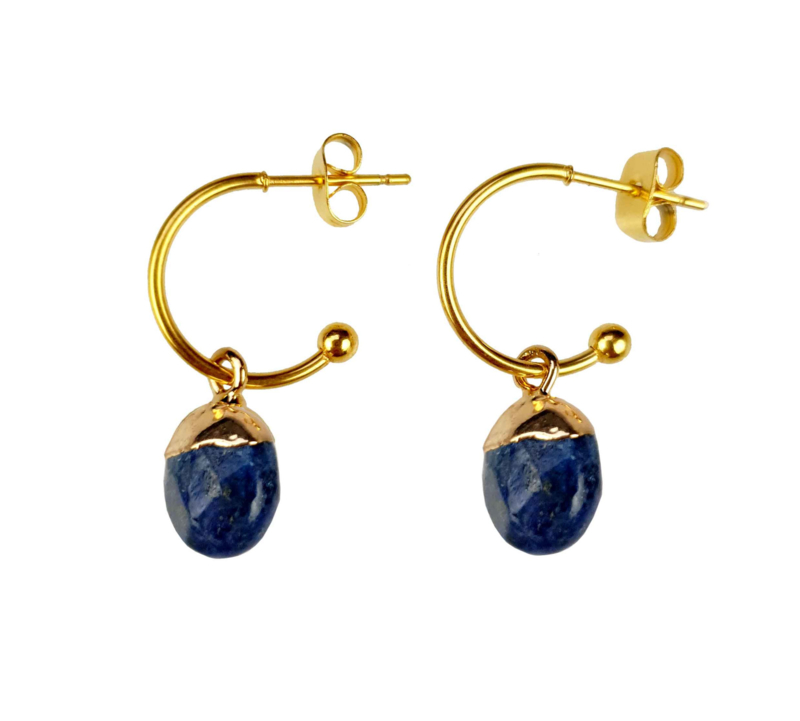 Edelstenen oorbellen Golden Hope 15 mm Lapis Lazuli