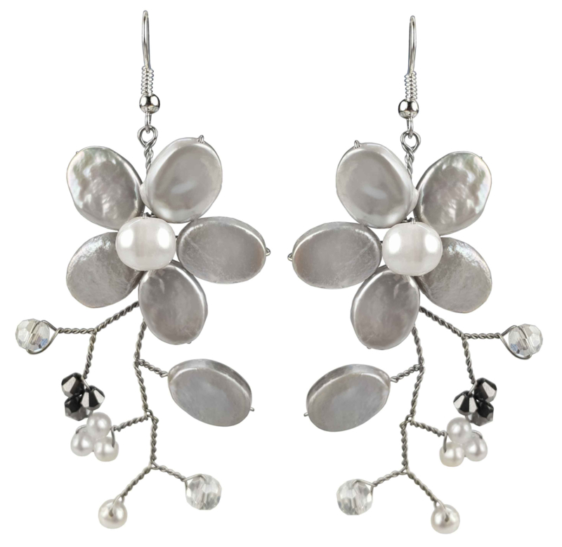 Zoetwater parel oorbellen Long Grey Flower Pearl