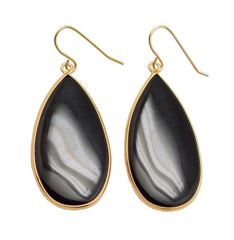 Edelstenen oorbellen Big Teardrop Black Agate Gold