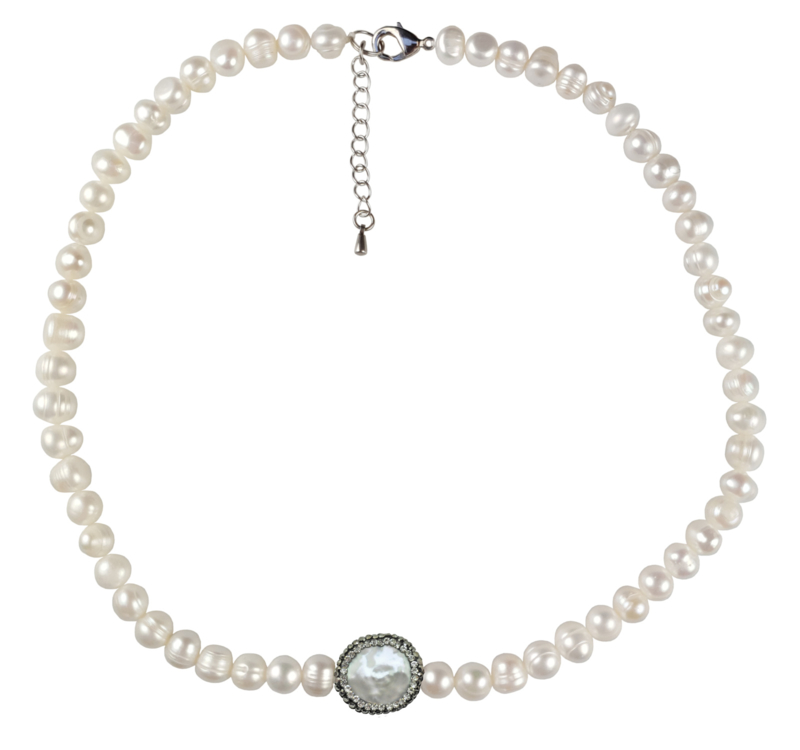 Zoetwater parelketting Bling Coin Pearl