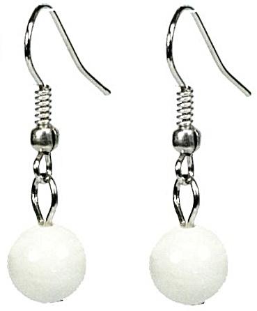 Edelstenen oorbellen Dangling White Jade