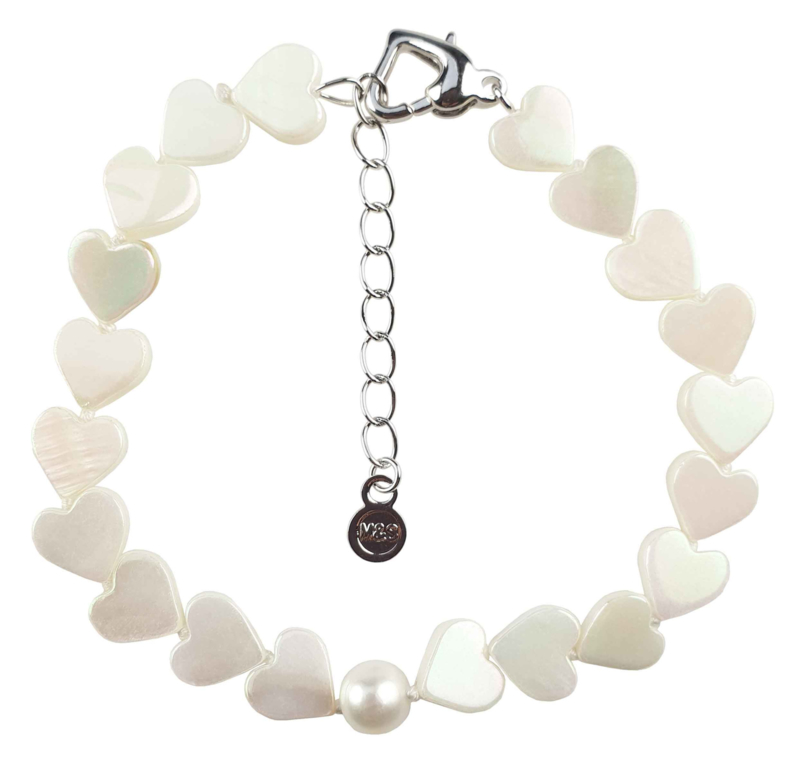 Zoetwater parel armband met parelmoer White Pearl Heart Shell