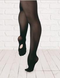 Balletpanty met voetgat (volwassenen - zwart en roze)