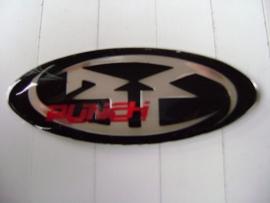 Rockfordfosgate op plak logo in facetglas