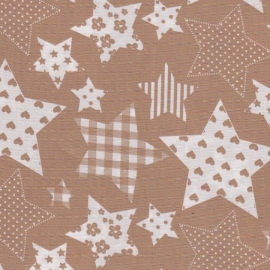 Stofcoupon B02 beige ster patchwork 33x33 cm