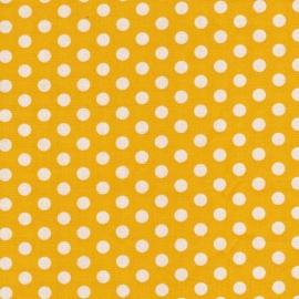 Stofcoupon GE01 geel-wit polkadot 33 x 33 cm