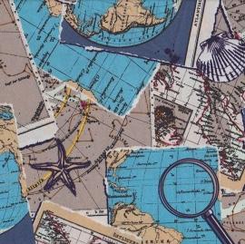 Stofcoupon ZG14 landkaart 33 x 33cm