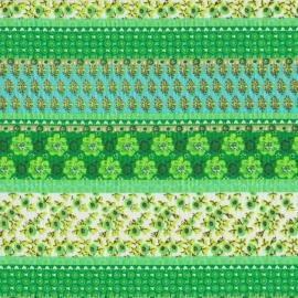 Stofcoupon GR22 groen-streep-bloem 33 x 33cm