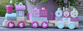 Gepersonaliseerde houten trein, (fel)roze