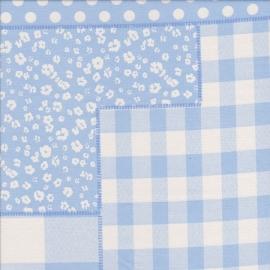 Stofcoupon BL10 patchwork lichtblauw 33 x 33cm