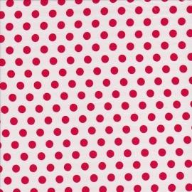 Stofcoupon RD09 wit-rood polkadot 33 x 33cm