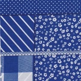 Stofcoupon BM09 patchwork blauw 33 x 33cm