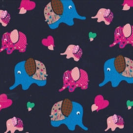 Stofcoupon BD08 blauw-olifantje 33 x 33cm