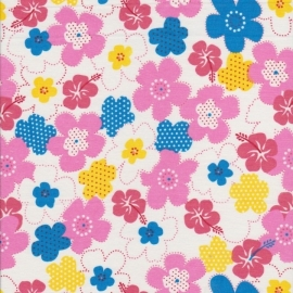 Stofcoupon RZ05 roze-geel bloem 33 x 33 cm