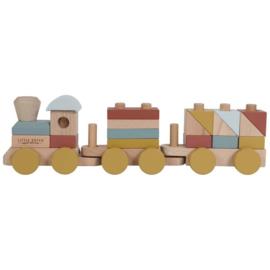 Gepersonaliseerde houten trein geel-bruin-blauw