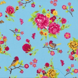 Stofcoupon TQ16 bloemen vogel turquoise 33 x 33cm