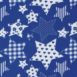 Stofcoupon BM02 blauw patchwork ster 33 x 33 cm