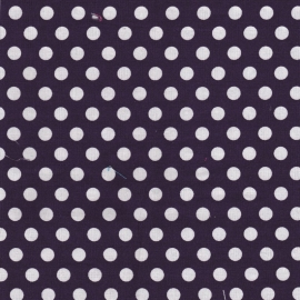 Stofcoupon PS02 donkerpaars-wit polkadot 33 x 33 cm