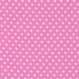 Stofcoupon RZ09 roze-wit hartje 33 x 33 cm