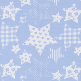 Stofcoupon BL07 lichtblauw patchwork ster 33 x 33 cm